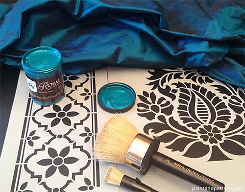 Stenciling on Silk Fabric