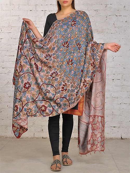 Silk Dupatta with Hand-Painted Florals from Jaypore