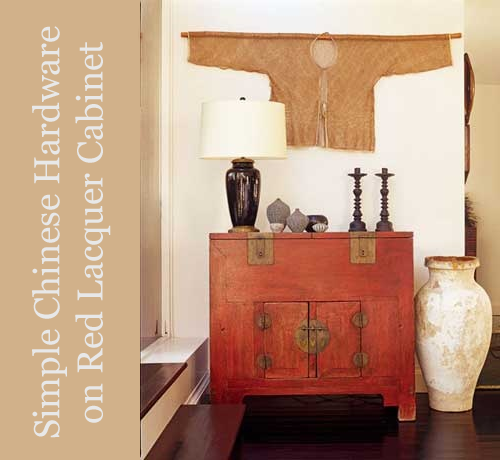 Red Chinese Cabinet with Global Accessories via House Beautiful