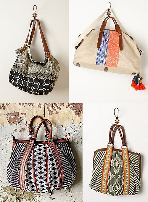 Anthropologie Border Patterned Tote Bags -- Make a DIY Bag Like These
