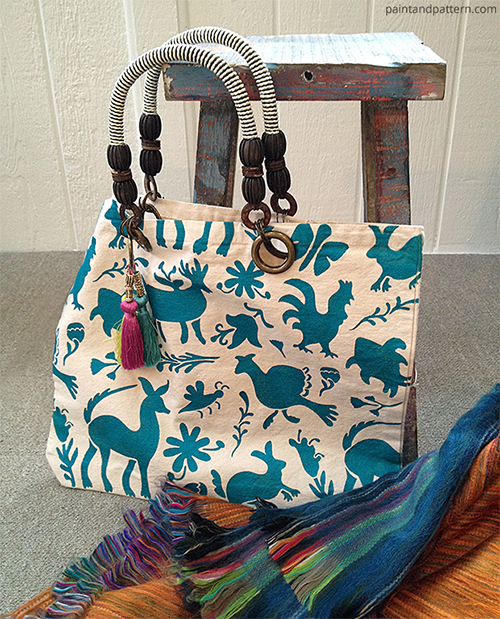 DIY Stenciled Otomi Tote Bag Featured at Paint and Pattern Blogzine