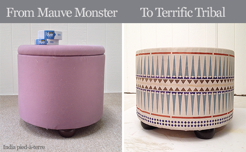 Before and After Fabric Ottoman Makeover