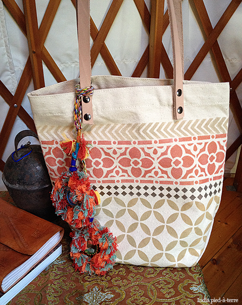 Painted Stencils & Camel Swag on a Tote Bag