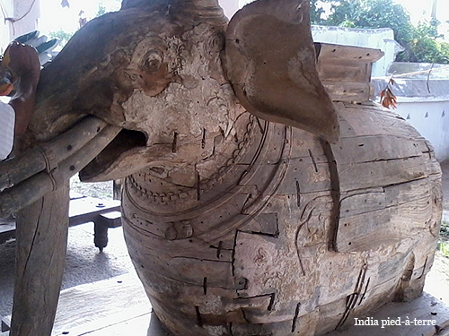 Old Wood Temple Elephant