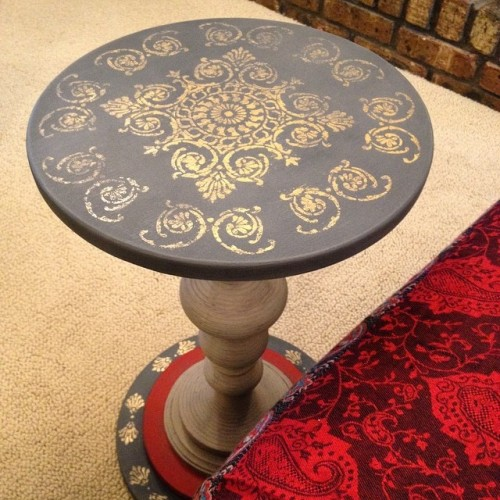 Painted Stenciled Side Table