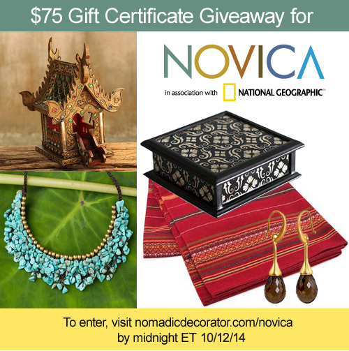 Giveaway for $75 to spend at Novica.com
