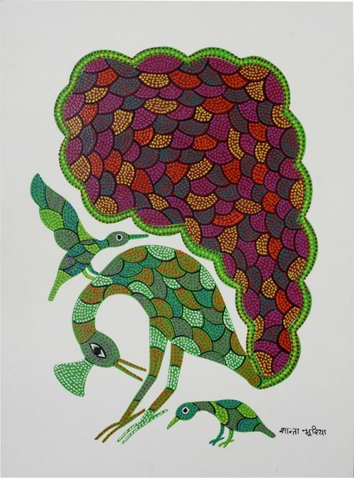 Peacock-Bird Bhil Painting By Shanta Bhuriya