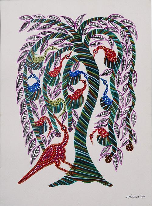 Tree-Bird Bhil Painting By Dubbu Bariya from Jaypore