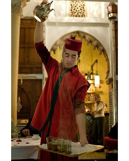 Pouring Moroccan Mint Tea