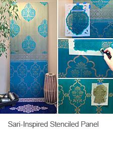DIY Sari-Inspired Stenciled Door Panel