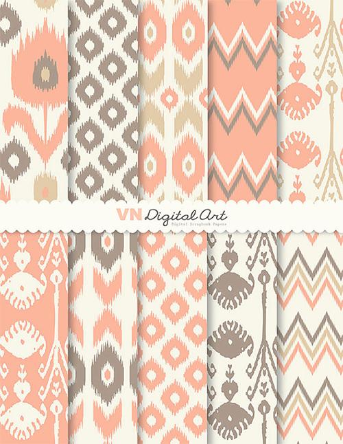 Ikat Scrapbook Paper Pack from VNDigital Art Etsy Shop