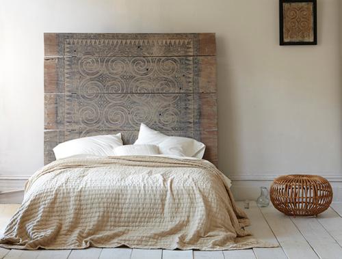 Patterned Wood Headboard via Christina Watkinson