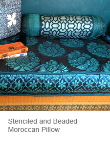 Stenciled Moroccan Bolster Pillow