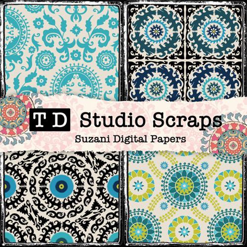 Suzani Scrapbook Paper from TaajDigital Etsy Shop