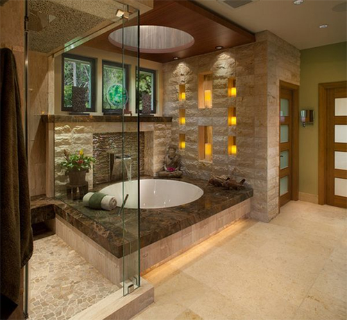 Teak and Texture in Neutral Spa-Like Space