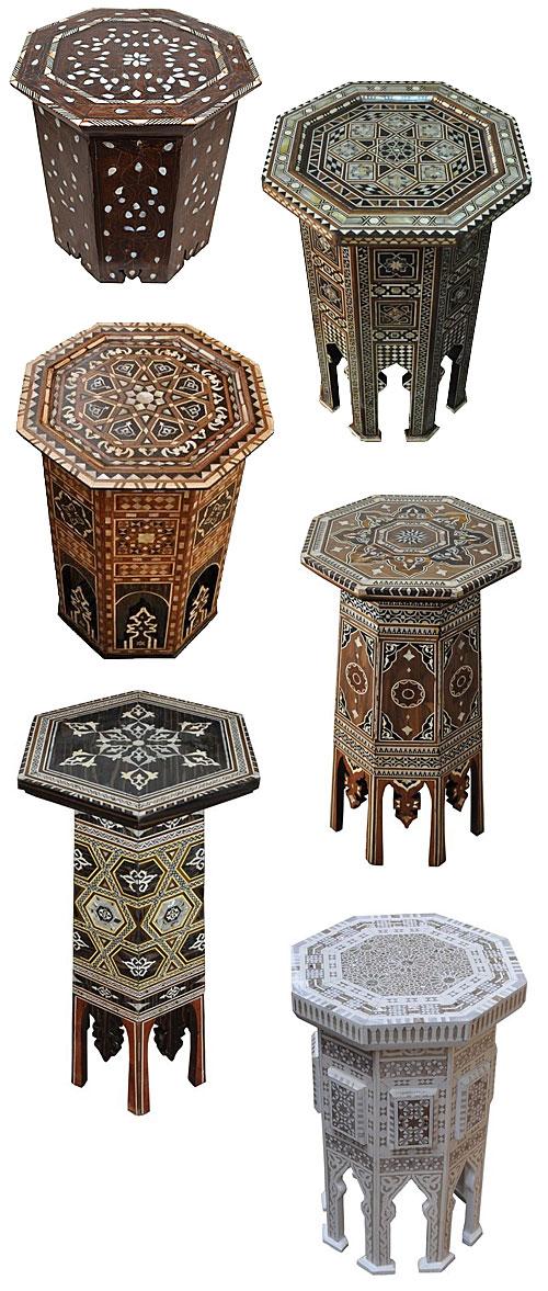 eKenoz Moroccan Syrian Turkish Inlaid Tables