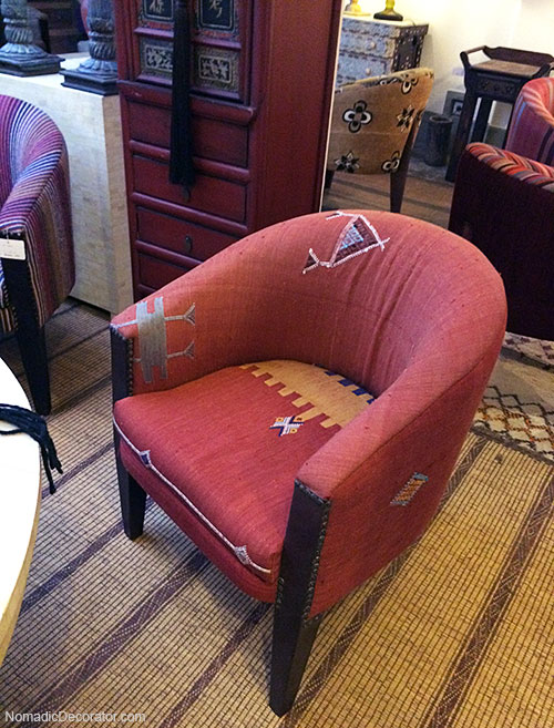 Upholstered Chair at Les Tresor du Nomades in Marrakech
