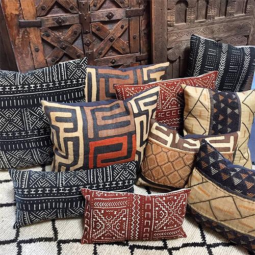 Kuba Cloth and Mud Cloth Pillows at Tierra del Lagarto