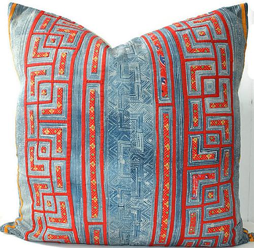 Hmong Pillow Indigo and Coral via HomeGirlCollection