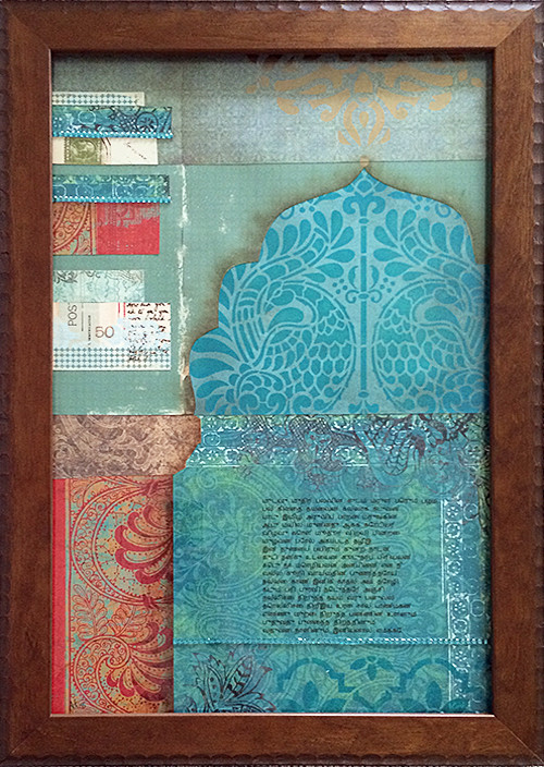 Mughal Arch Scrapbook Paper and Stencil Collage