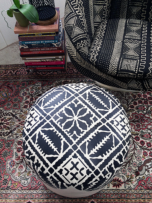 DIY Moroccan Pouf with Fez Stencil Pattern