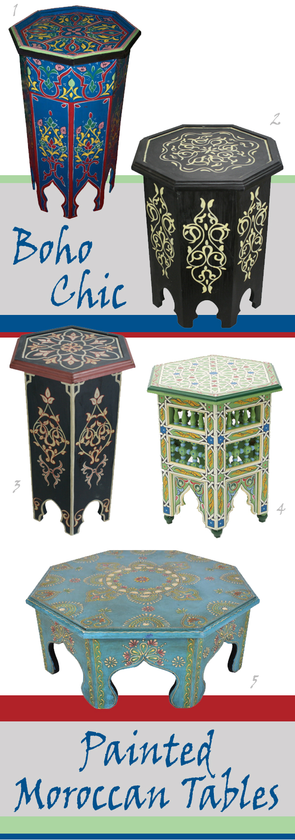 Bohemian Chic Painted Moroccan Tables