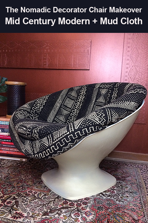 Mid Century Modern and Mud Cloth Chair Makeover