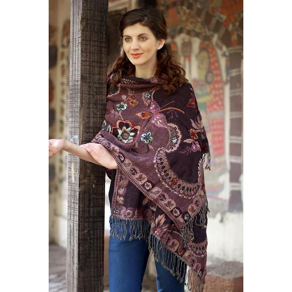 Novica Wood Embroidered Indian Shawl