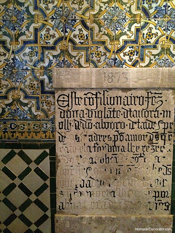 Pattern Play of Tile and Script in Lisbon Portugal