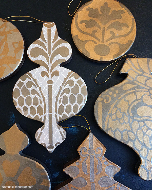 Stenciled Patterns on Christmas Tree Ornaments