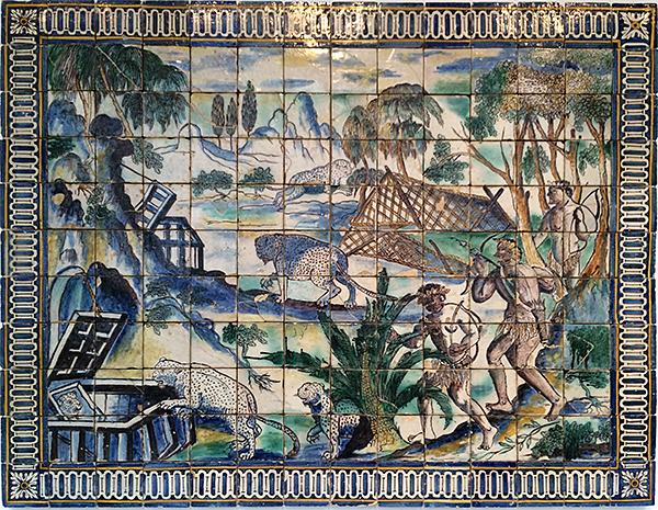 The Leopard Hunt Tile Mural at Portugal National Tile Museum