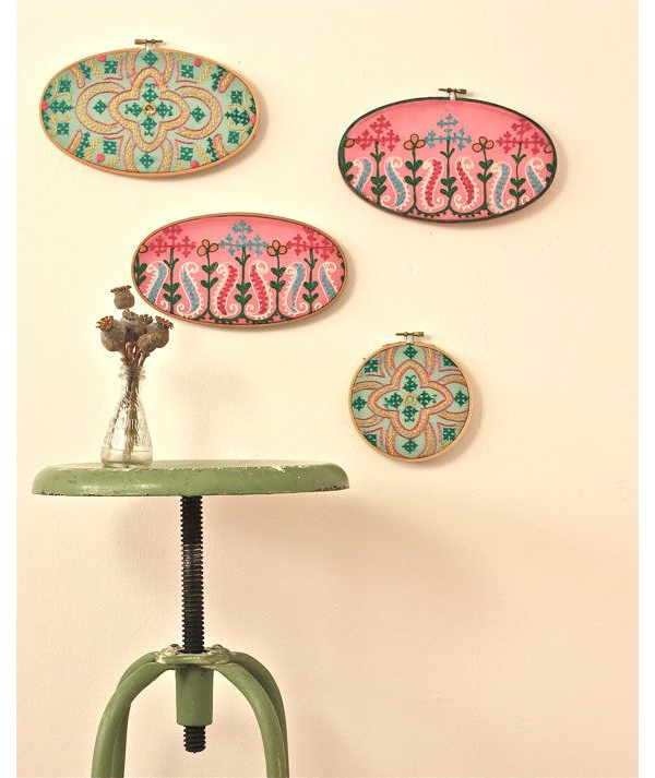 Sari Borders in Embroidery Hoops via FoundVintageObjects Etsy Shop