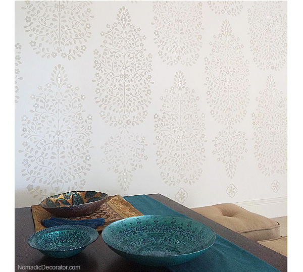 Stenciled Wall in India pied-a-terre