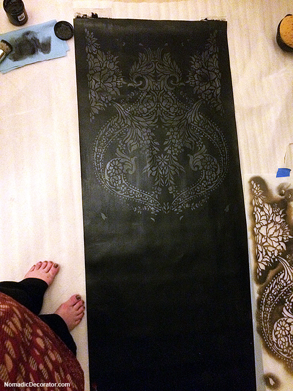 Stenciling on Black Canvas