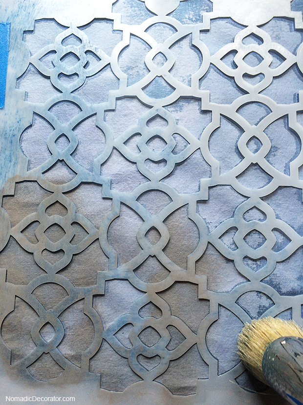 Stenciling Fabric Paint Over Indigo Dye