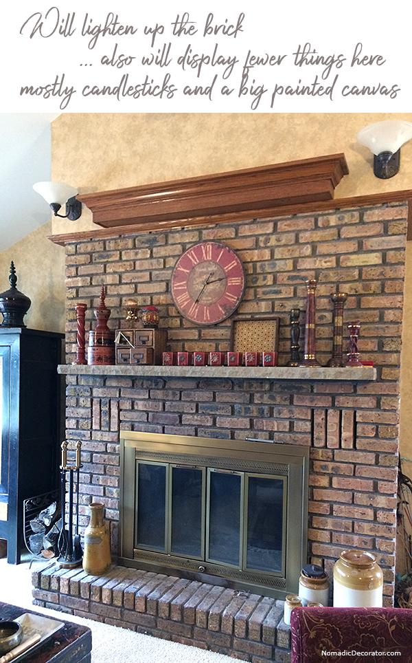Dark Brick Fireplace